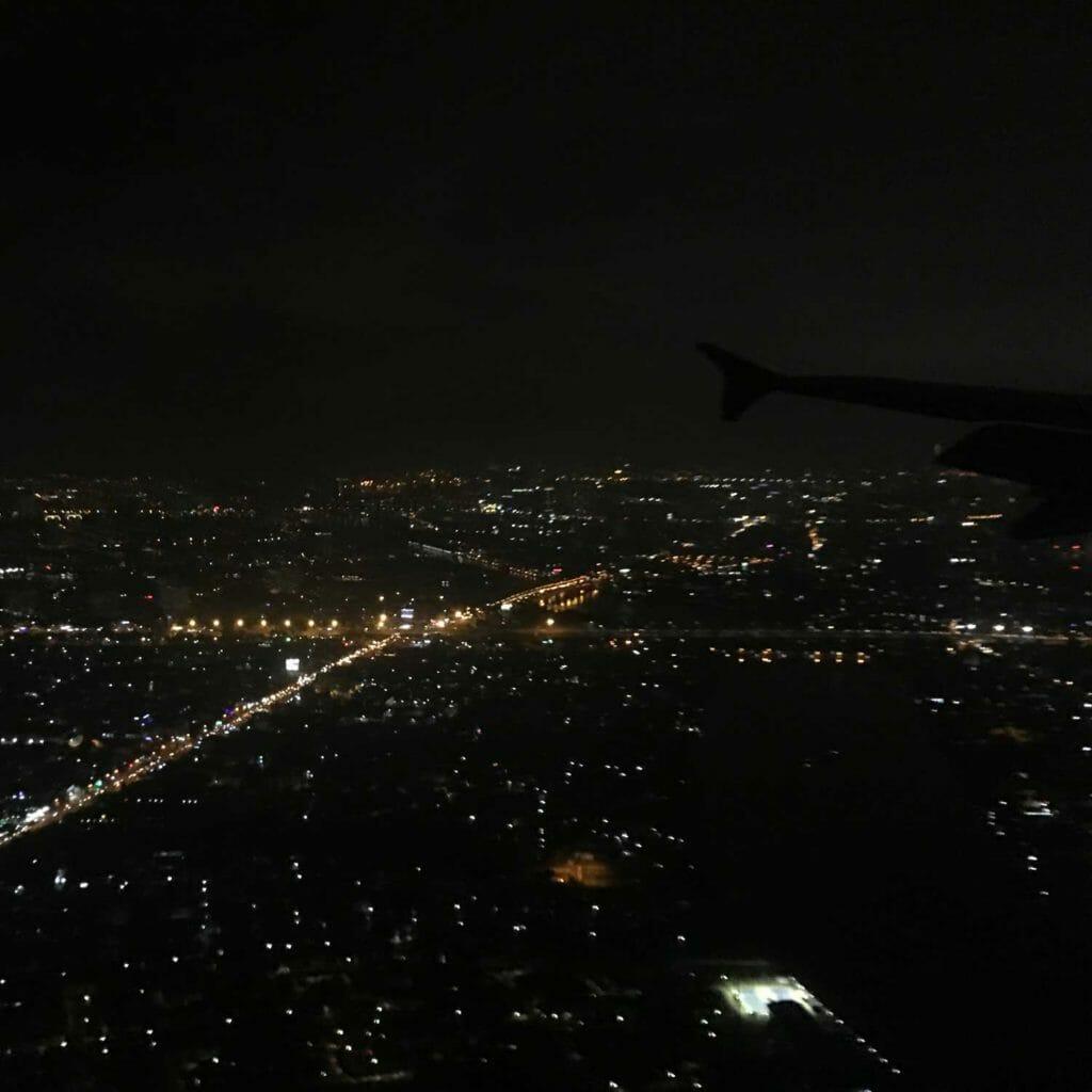 Uit het vliegtuig zicht op Saigon