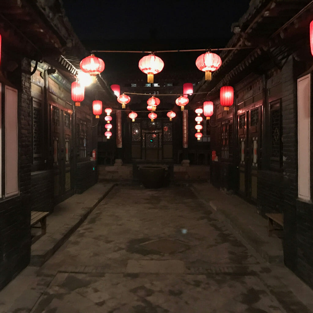 Pingyao-Guesthouse-Gardenc-At-Night